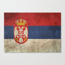 Old and Worn Distressed Vintage Flag of Serbia Canvas Print