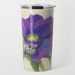 Purple Anemone and Butterfly Travel Mug