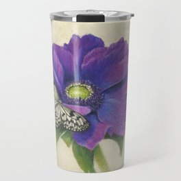 Purple Anemone and Butterfly Travel Mug