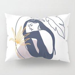 Summer Women Leaf Illustrations Pillow Sham