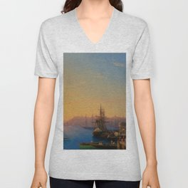 View of Constantinople and the Bosphorus Landscape Masterpiece by Ivan Aivazovsky Unisex V-Neck