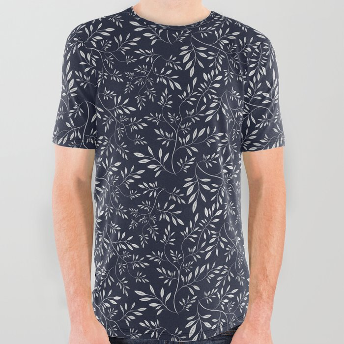 Momonchrome_abstract_leaves_All_Over_Graphic_Tee_by_DistinctyDesign__Small