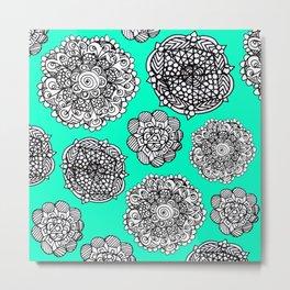 aqua mandala maze  Metal Print