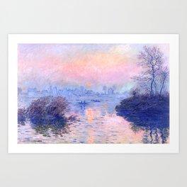 "Claude Monet ""Sunset on the Seine at Lavacourt. Winter Effect"" Art Print"