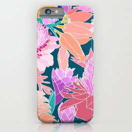 Ginger Flower in Dark Teal Green iPhone Case