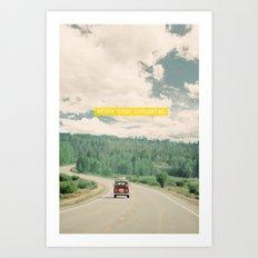 NEVER STOP EXPLORING - vintage volkswagen van Art Print