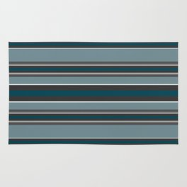 Striped turquoise and gray, green background Rug