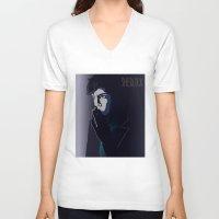 sherlock V-neck T-shirts featuring SHERLOCK by ketizoloto