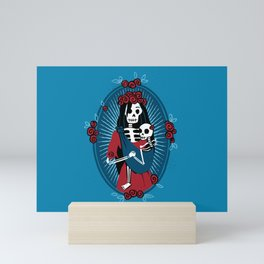 Skeleton Mother & Child - Dia de los Muertos - Blue Mini Art Print
