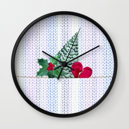 Knitted Christmas pattern.2 Wall Clock