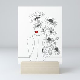 Minimal Line Art Girl with Sunflowers Mini Art Print