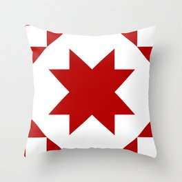 Star quilt square red Throw Pillow