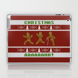Ugly Christmas Sweater Scared Gingerbread Men Red Laptop & iPad Skin