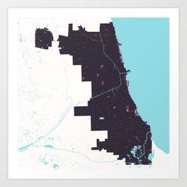 Chicago Illinois Minimalist Map (Plum) Art Print