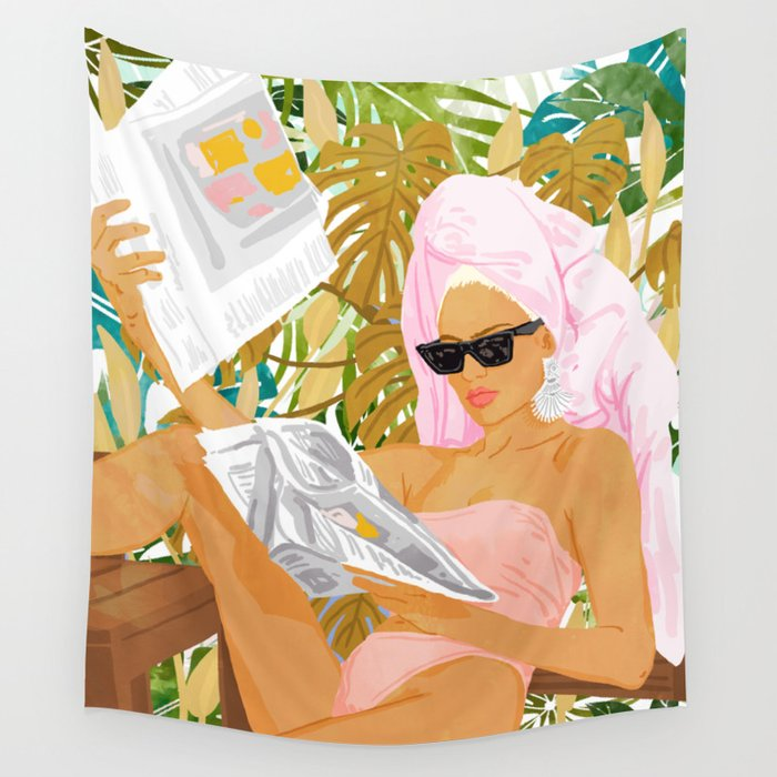 Vacay News #illustration #painting Wall Tapestry