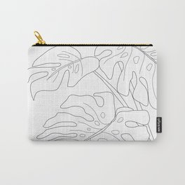 Line Art Monstera Leaves Carry-All Pouch