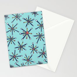 Viruses Resembling Molecules - Retro Modern Microbiology Pattern Stationery Cards