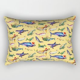 Whales on Holiday by dotsofpaint - Yellow Rectangular Pillow