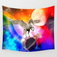decal Wall Tapestries featuring space unicorn. by haroulita
