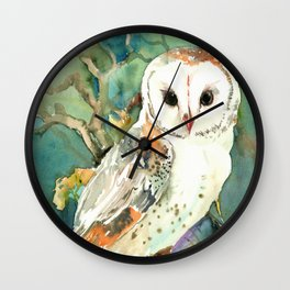 Barn Owl, woodland design owl Wall Clock