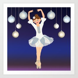 Ballerina dance on Christmas Eve. Art Print