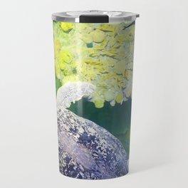 Sea Turtle on Lime Green Travel Mug
