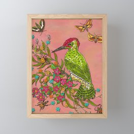 Floral Woodpecker Framed Mini Art Print