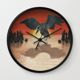 Blue Heron Reflection Wall Clock