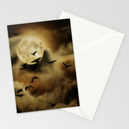 Crows Fly Towrads The Moody Moon's Glow Stationery Cards
