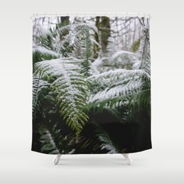 Fern Forest Winter Pacific Northwest Snow III - Nature Photography Shower Curtain
