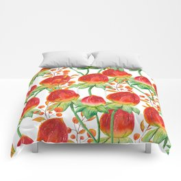 Watercolor hand painted red orange yellow tulip flowers Comforters