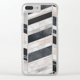 Shimmering Chevron Pattern - white pearl marble, silver and black Clear iPhone Case