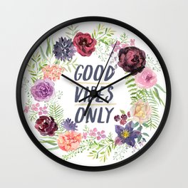 Wreath Good Vibes Only with purple flowers Wall Clock