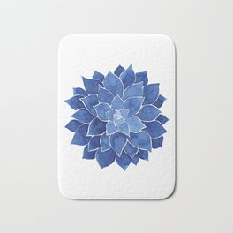 Indigo Succulent |  Watercolor Painting Bath Mat