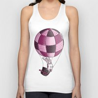 baloon Tank Tops featuring Rabbit on pink baloon by My moony mom