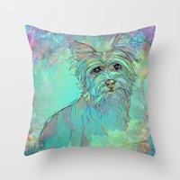 yorkie Throw Pillows featuring Dog Illustration ; Yorkie by bialy kot art