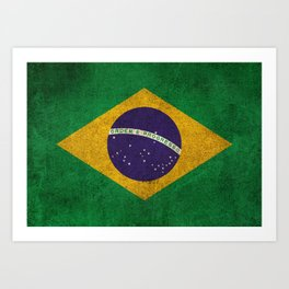 Old and Worn Distressed Vintage Flag of Brazil Art Print