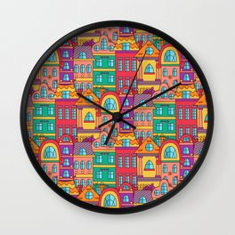 Old town view pattern Wall Clock