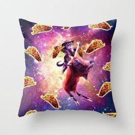 Cowboy Space Cat On Goat Unicorn - Taco Throw Pillow