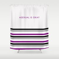 asexual Shower Curtains featuring Asexual Is Okay by jess