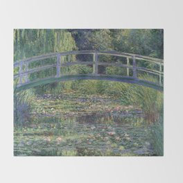 Water Lilies and the Japanese Bridge by Claude Monet Throw Blanket