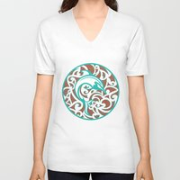 maori V-neck T-shirts featuring Maori Dolphin by freebornline