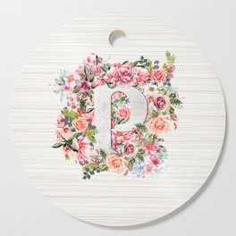 Initial Letter P Watercolor Flower Cutting Board
