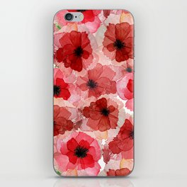 Pressed Poppy Blossom Pattern iPhone Skin