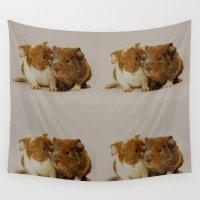 pigs Wall Tapestries featuring Guinea pigs by Guna Andersone & Mario Raats - G&M Studi