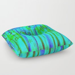 WINTER GARDEN -Bright Blue Green Neon Snowflake Floral Abstract Watercolor Painting and Digital Art Floor Pillow