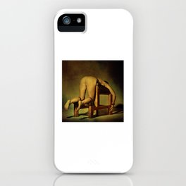 Tied on the whipping bench - Nude woman in bondage iPhone Case