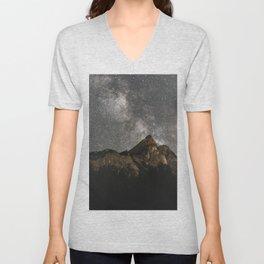 Milky Way Over Mountains - Landscape Photography Unisex V-Neck