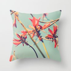 You're so far away. Coral tree nature photograph. Throw Pillow