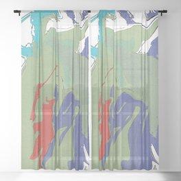 Abstract Tropical Splash Sheer Curtain
